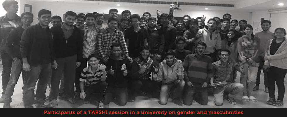 Participants of a TARSHI session in a university on gender and masculinities