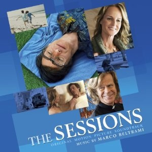 """Poster for the movie """"The Sessions"""". Rectangluar photos of different characters from the movie are arranged against a background of varying shades of blue rectangles. Source: Creative Commons"""