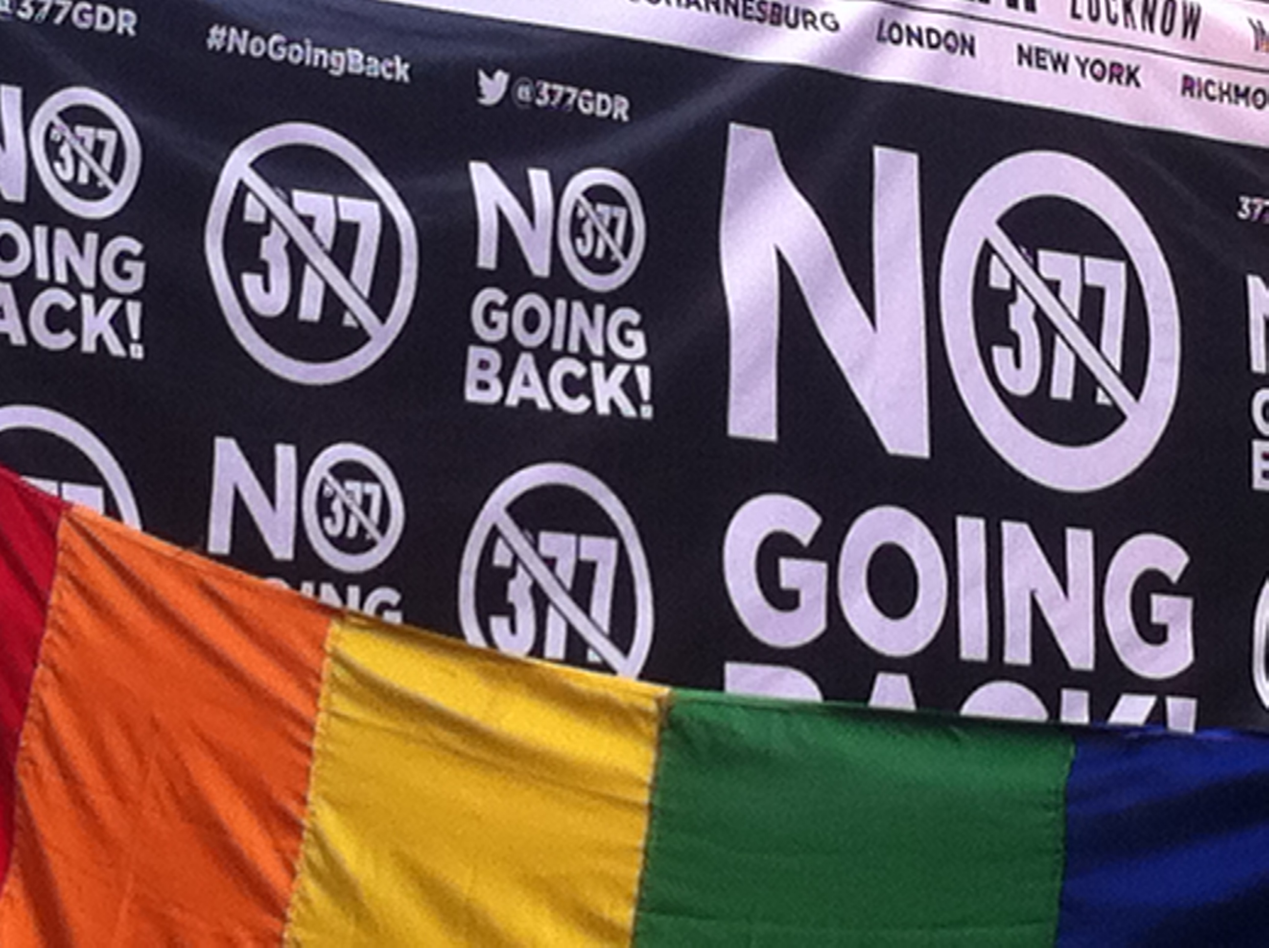 """A poster that reads """"No Going Back"""", with the word '377' crossed out. In front of it, there is rainbow-coloured Pride flag."""