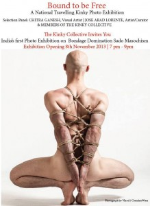 The back of an anonymous naked figure which is bald and has its body and hands tied. The text on the image is an invitation to attend the 'Bound to be Free' photo exhibition which was held on the 8th of November 2013.