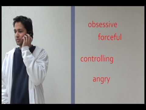 Picture of a man speaking on the phone, with the words 'obsessive', 'forceful', 'controlling' and 'angry' written beside him.