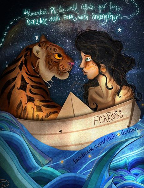An illustration of a boy facing a tiger, while they're both on a boat, with a quote from Life of Pi written above.