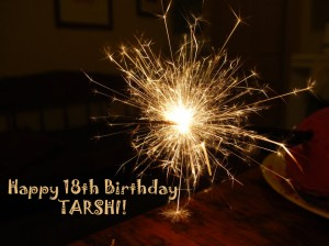 Picture of a firecracker with the text 'Happy 18th Birthday to TARSHI' below