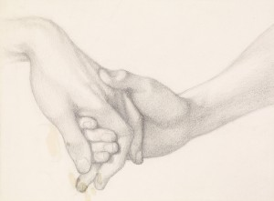 a pencil sketch of two hands touching