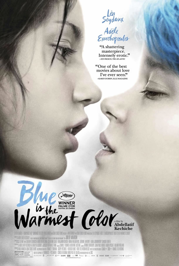 poster for the film 'blue is the warmest colour', which shows two young girls facing each other intimately