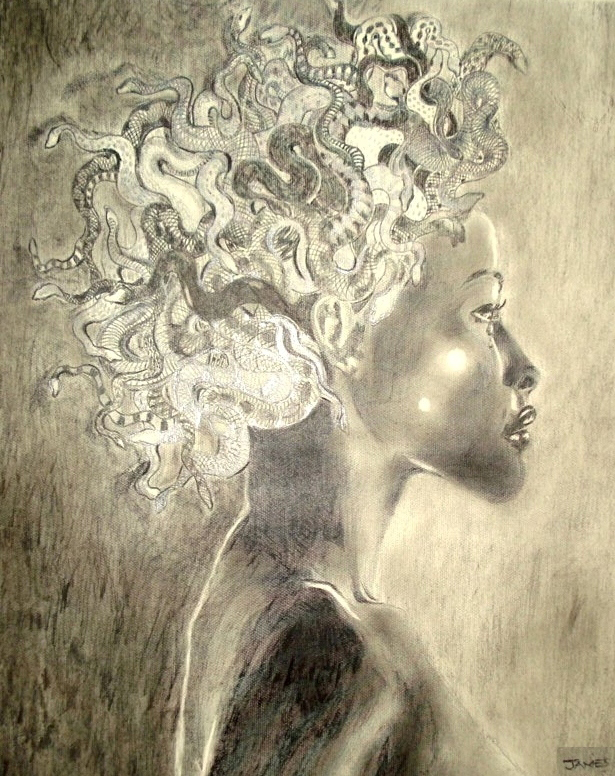 An illustration of a woman facing sideways with snakes in place of her hair.