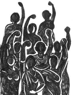 A black and white sketch of a group of women raising their fists in the air