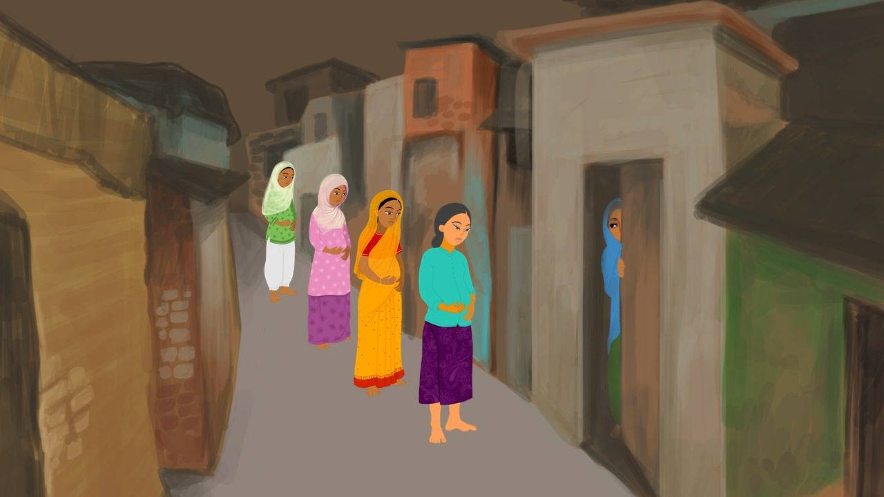 Illustration of a woman inside her house, door half-shut, while four more women of various ages stand outside.