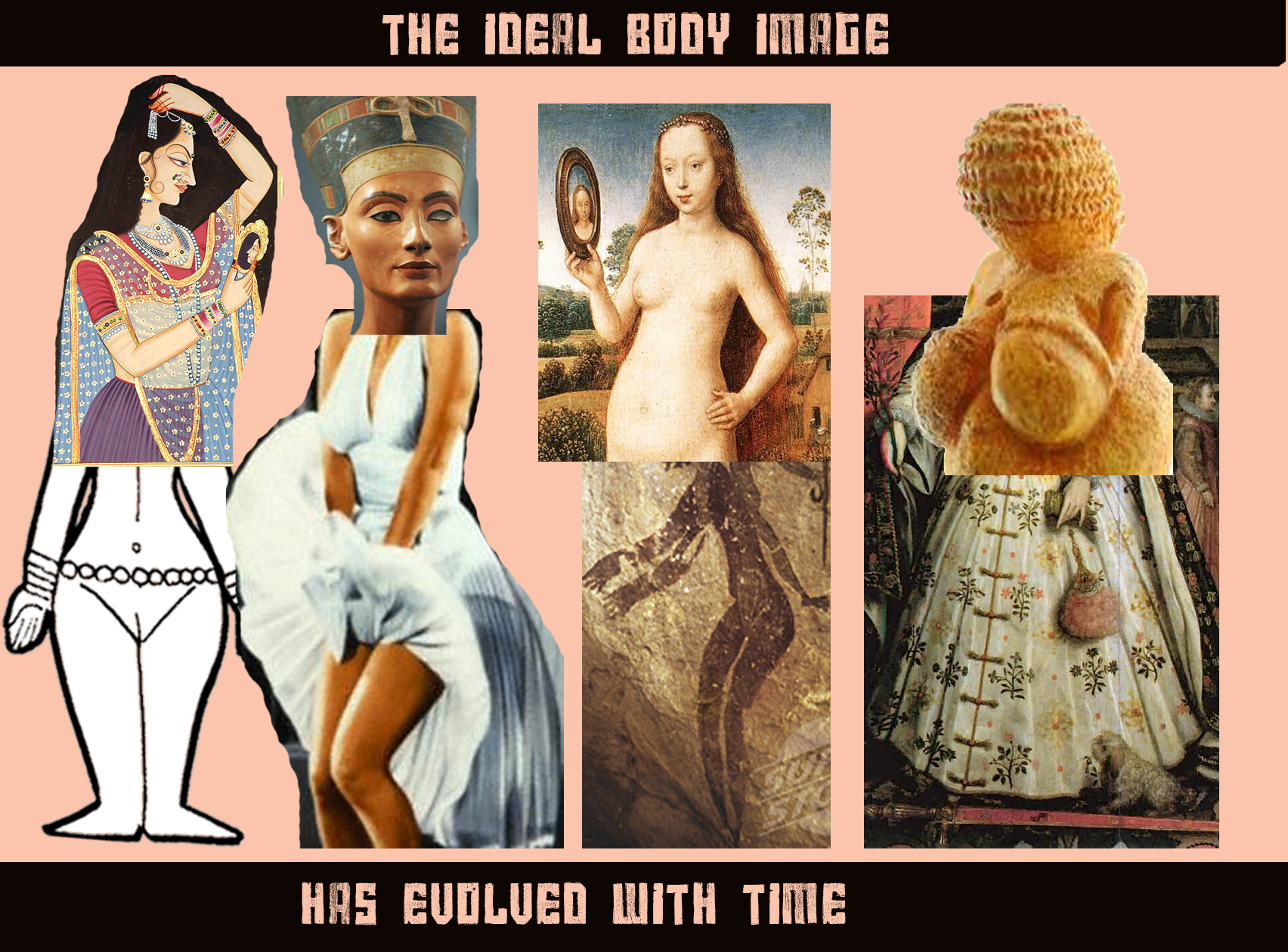 A collage showing how the ideal body type has evolved over time