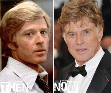 Two photos of veteran actor Robert Redford - one of his youth and one of him at present day - beside each other