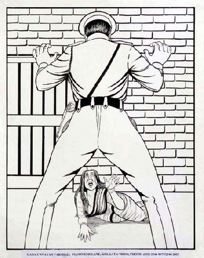 Illustration of a police official standing in a threatening pose and a woman lying on the floor looking terrified