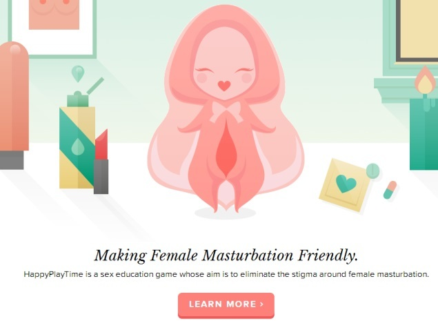 A cartoon illustration of a clitoris with a face drawn on it, the caption below it reads, 'making masturbation female friendly'