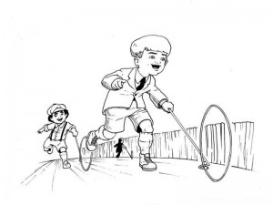 Black and white sketch of two little boys chasing each other and playing with a toy wheel