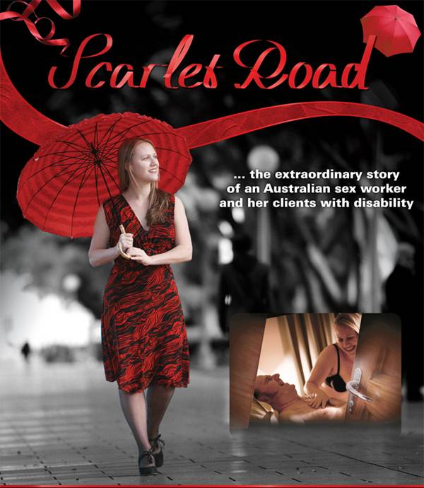 A woman dressed in a red and black dress is seen walking with a red umbrella. She is caucasian and has blonde hair and is looking off into the distance contemplatively. Beside, there is a small polaroid image of the same woman woman lying in bed with an older man. The name of the movie, 'Scarlet Road', is written on top.