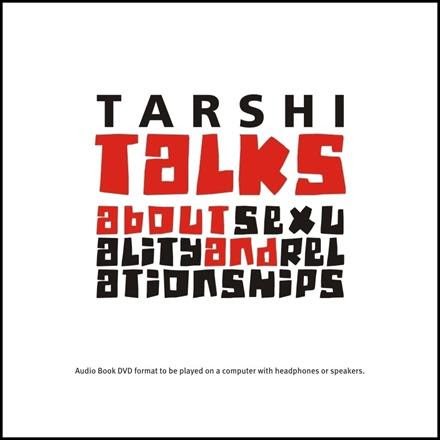 """Against a white background, the red-and-black text reads, """"Tarshi talks about sexuality and relationships"""""""