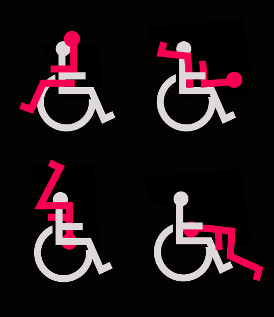 Against a black background, there are small white and red stick figures showing various sex positions wheelchair-bound people can practice
