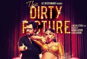 Poster for the film 'dirty picture', shoeing actress vidya balan leaning against actor emraan hashmi