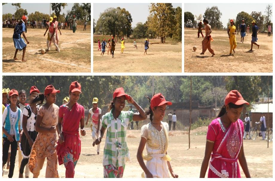 A series of 4 pictures - all of them showing a bunch of young girls engaged in playing sports. They are dressed in different kinds of brightly coloured cothes and they each wear a red cap