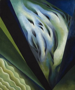 an abstract painting of various shades of green and blue