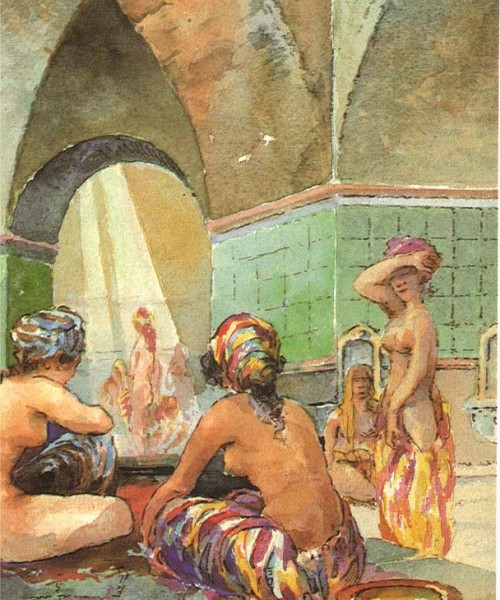 Illustration of a turkish bath, where a group of women are bathing naked
