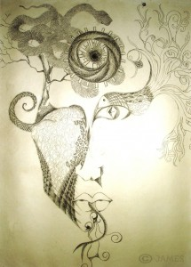 An abstract drawing of a face, intertwined with different textures, animals like a bird and a snake, and trees.