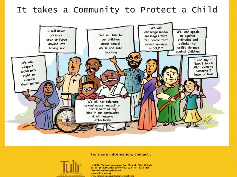 A cartoon sketch showing a community of people belonging to various ages and genders - two women in sarees, one girl child, one male child sitting in a wheelchair, and four adult men - holding up placards with various solgans about child protection