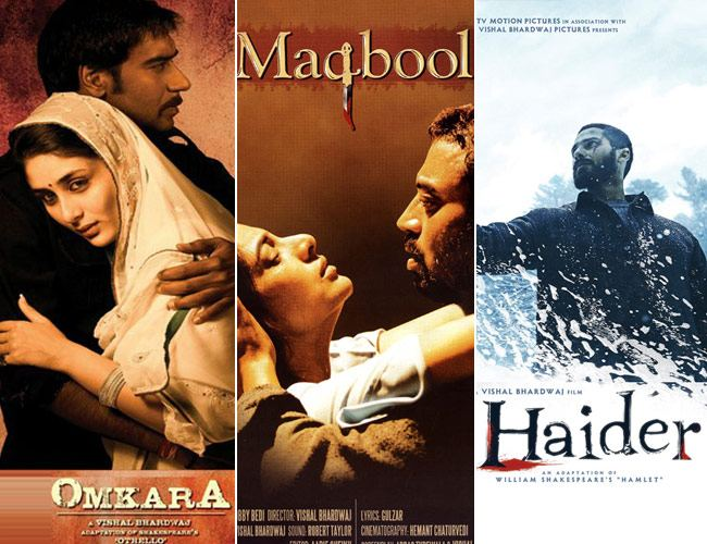 Collage of posters of three films - Omkara, Maqbool and Haider. The first poster shows a man and woman embracing, the second shows a man intimately caressing the head of a woman and the thirs shows a man holding up a human skull