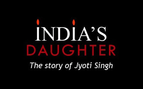 """Poster of a documentary. On a black background is written, """"India's Daughter - The Story of Jyoti Singh"""", with """"Daughter"""" in red and everything else in white. The tittle of two i's in IndIa are flames, making the I's look like candles."""