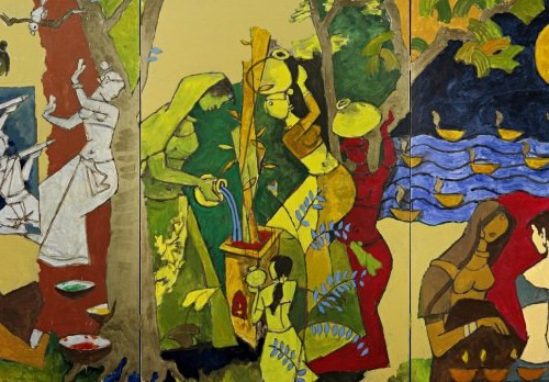 Painting of women - some playing Holi, some dancing, some carrying pitchers of water on their head, others watering tulsi, and other two conversing.