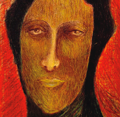 Painting of a face with no emotions. It has brown skin, black hair, the background colour is red.