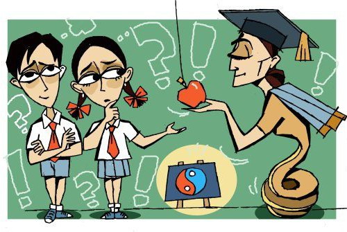 Comic panel. A school teacher offering an apple to a girl and a boy student, while both of them look at it skeptically.
