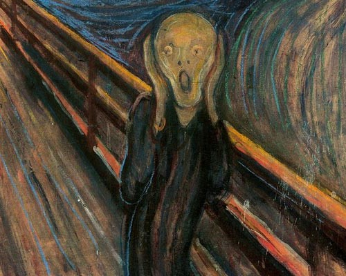 Edvard Munch's 'The Scream', an abstract painting of a man with an abstract face seemingly letting out a scream