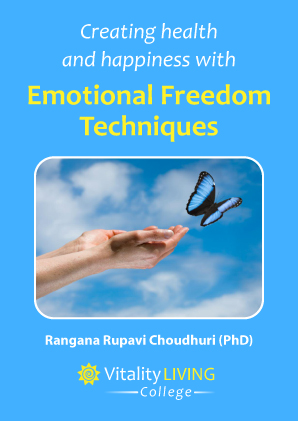 Against a blue background, the picture of a hand and a butterfly flying above it. The text on top reads 'Emotional Freedom Techniques'