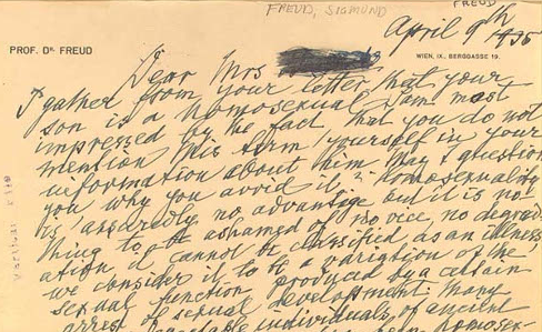 Picture of a letter written in Sigmund Freud's handwriting