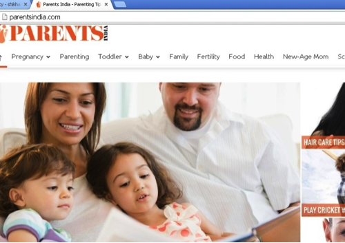 Screenshot of a website called 'Parents.com' which shows a family - a man, a woman and a child leaning on them