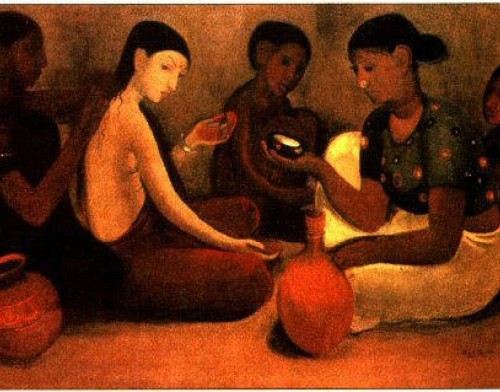 Painting of women sitting on the ground cross legged. One is rubbing the back of another. They are all looking solemn.