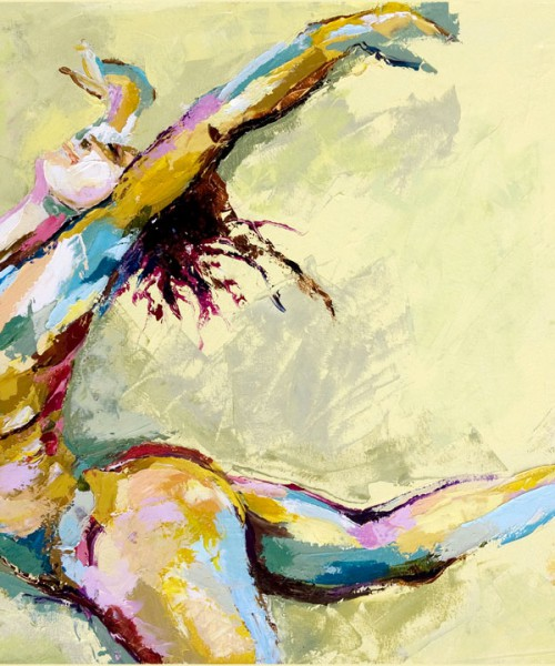 Illustration of a naked woman with paint smeared across her body throwing her arms up in the air in joy and abandon
