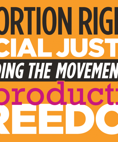 """Against an orange background, the bold text reads: """"Abortion Rights, Social Justice, Building the Movement for Reproductive Freedom"""""""