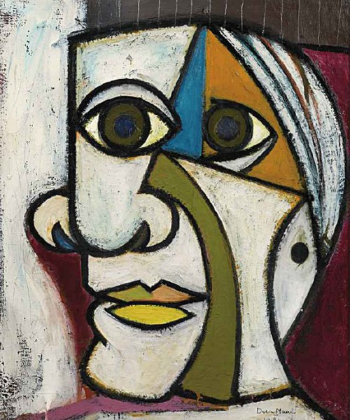 Abstract painting of a distorted face outlined with bold lines