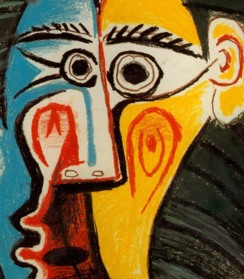 Abstract drawng of a distorted face painted in blue and yellow