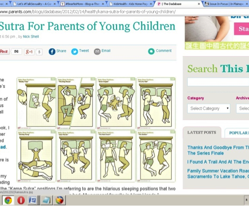 "Screenshot of a computer screen, on which is opened a webpage titled, ""Kama Sutra for parents of young children."""
