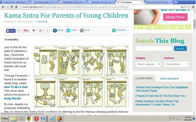 """Screenshot of a computer screen, on which is opened a webpage titled, """"Kama Sutra for parents of young children."""""""