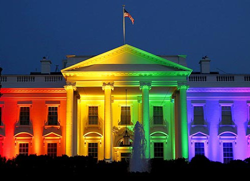 The White House lit up in rainbow colours.