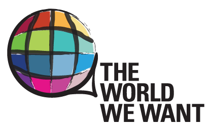"""A colourful circle representing a globe. On its bottom right side is written in black and caps, """"The world we want."""""""