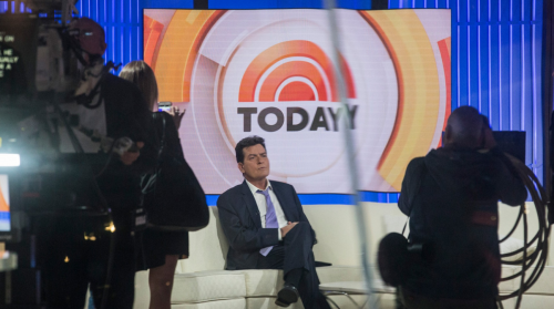 Charlie Sheen on The Today Show. Cameraperson is filming him.