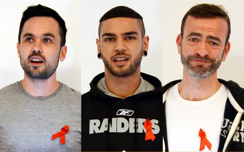 A collage of photos of three men of various ages, all three of them wearing the red ribbon for AIDS solidarity on their shirts