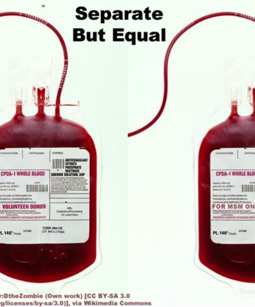 """In Plainspeak English Audit In Plainspeak English Audit 100% 10 Two blood bags. On top is written """"Separate but equal"""". Screen reader support enabled. Two blood bags. On top is written """"Separate but equal""""."""