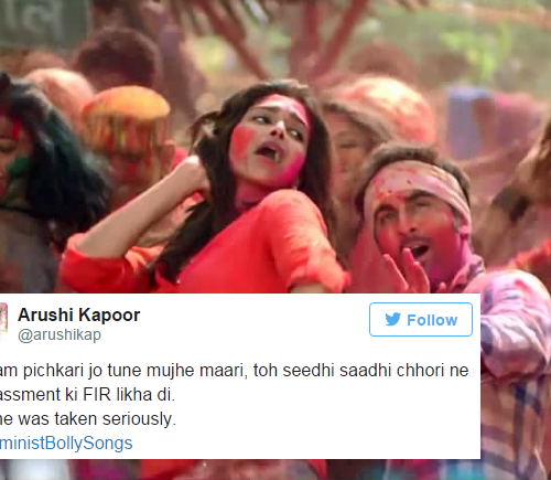 "A film still of Deepika Padukone and Ranbir Kapoor dancing with Holi colours thrown on them. Over the picture is a screenshot of a tweet that reads, ""Balam pichkari joh tune mujhe mari, toh seedhi saadhi chhori ne harassment ki FIR likha di. & she was taken seriously. #FeministBollySongs"""