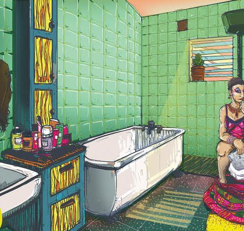 Painting of a woman sitting on a WC in a bathroom.