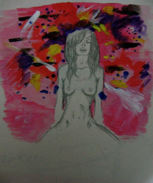 Pencil drawing of a naked woman. Her legs are spread apart, and she is having an orgasm. Screen reader support enabled. Pencil drawing of a naked woman. Her legs are spread apart, and she is having an orgasm.